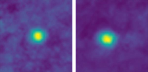 Os KBOs 2012 HZ84 (esquerda) e 2012 HE85 (direita).