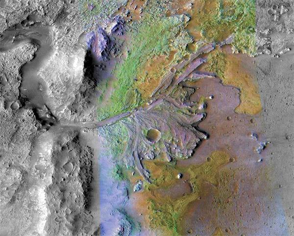 Delta da cratera de Jezero.