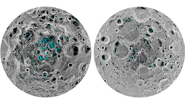 Gelo na superfície lunar.