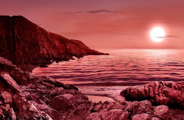 Exoplaneta habitável - ilustração.