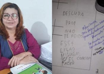 PROFESSORA SE EMOCIONA COM ALUNA QUE NÃO PÔDE FAZER LIÇÃO