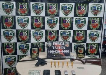 FORÇA TÁTICA DETÉM FORAGIDO DA JUSTIÇA EM POSSE ILEGAL DE ARMA DE FOGO NO RAMAL BRASILEIRINHO