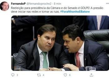 Web volta a se manifestar contra reeleição de Maia e Alcolumbre