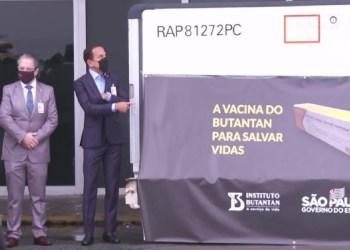 1º LOTE DE CORONAVAC CHEGA AO BRASIL E É RECEBIDO POR DORIA NO AEROPORTO DE GUARULHOS