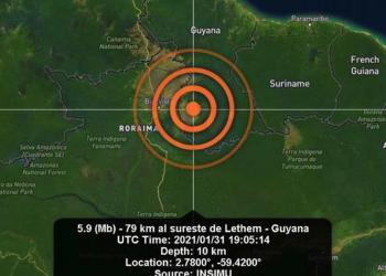 Amazonas é parcialmente afetado por terremoto que atingiu a Guyana