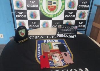 PMAM recupera celulares roubados de trabalhadores em rota de transporte, no Tancredo Neves