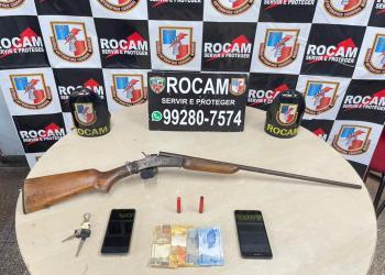 Rocam apreende arma de fogo e detém dois homens no bairro Nova Vitória