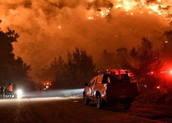 Centenas de bombeiros combatem incêndio florestal na Grécia