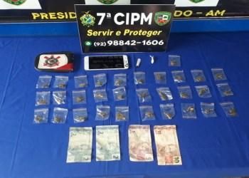 Polícia Militar detém homem com drogas em Presidente Figueiredo