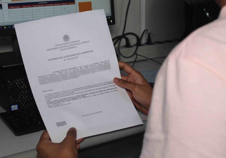 Mais de 4 mil certidões de antecedentes criminais foram emitidas pelo Instituto de Identificação