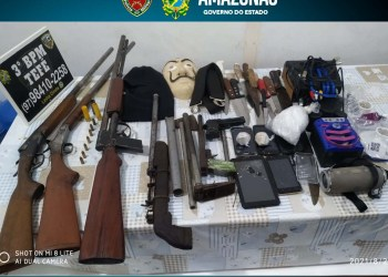 Em Tefé, PMAM prende três indivíduos e apreende armas de fogo, aparelhos eletrônicos e drogas