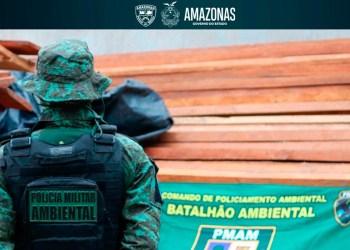 Batalhão Ambiental apreende cerca de 70 metros cúbicos de madeira ilegal no bairro Nova Cidade