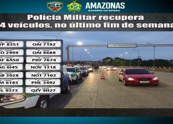 PMAM localiza e recupera 14 veículos com restrição de roubo