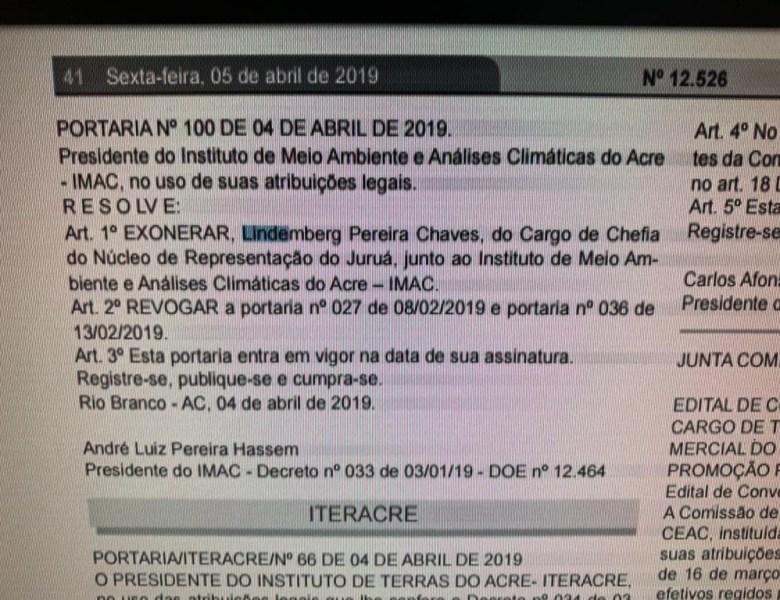 De perseguidor a demitido – Chefe do Núcleo do Imac de Cruzeiro do Sul é exonerado