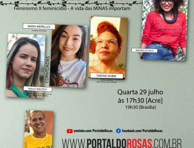 Feminicídio e violência contra mulher serão debatidos no canal do Portal do Rosas no Youtube