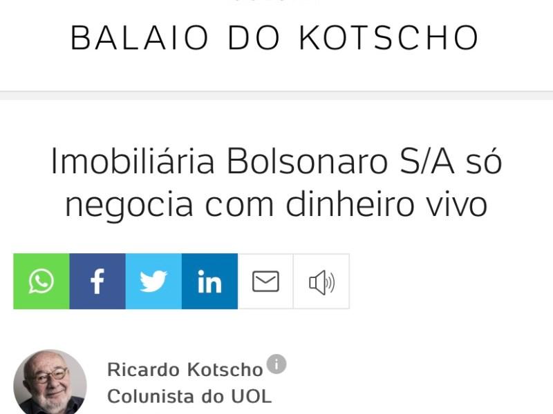 Imobiliária Bolsonaro S/A só negocia com dinheiro vivo