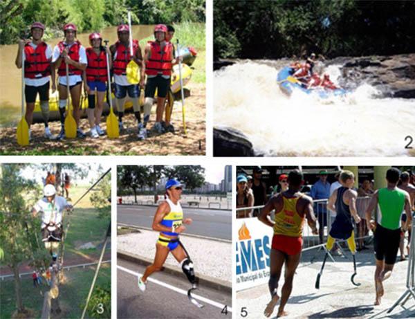 Colagem de cinco fotos com atletas amputados.