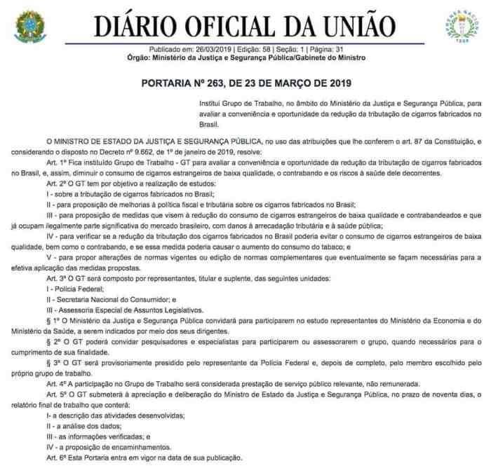 Portaria do Diário Oficial da União com instituição de grupo para analisar redução de impostos sobre cigarro.
