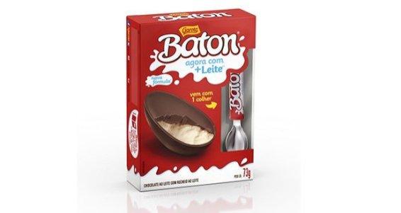 Baton de Colher - 73g: Ovo de chocolate ao leite com recheio de leite. Vem com uma exclusiva colher Baton. Média de preço: R$ 12,99
