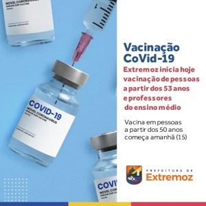 Extremoz inicia vacinação contra covid-19 em pessoas a partir de 53 e professores do ensino médio