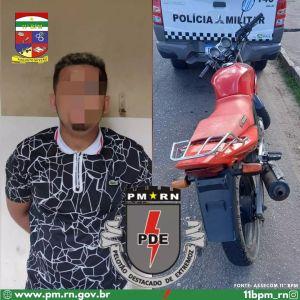 Homem é preso pela Polícia Militar em Extremoz tentando vender moto furtada