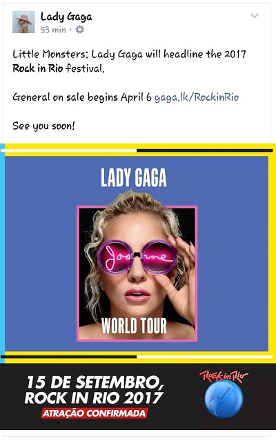 Lady Gaga Joanne Word Tour Rock In Rio 2017 Portal Fama MATERIA