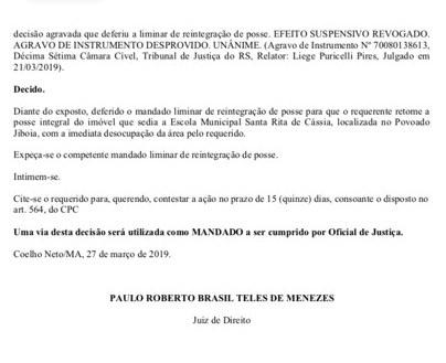 Justiça reconhece direito da Prefeitura de Afonso Cunha e determina reintegração de posse em escolas da zona rural