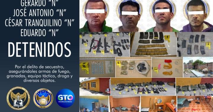 Grupo criminal es detenido con arsenal, explosivos y drogas