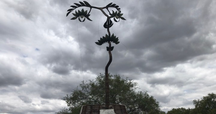 A punto de colapso la Mujer Árbol,  obra del artista celayense Octavio Ocampo