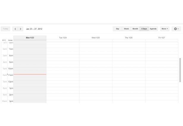 Visão do Google Calendar