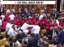 Deputados da oposição na África do Sul e seguranças do parlamento envolveram-se ontem numa batalha campal quando os legisladores interromperam, com vaias, o discurso sobre