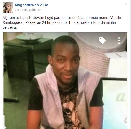 O músico moçambicano, Ziqo depois dever sua imagem exposta nas redes sociais por conta de uma