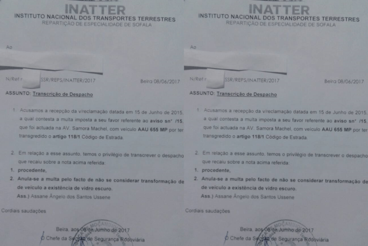 A Polícia da República de Moçambique junto a INATTER confirmou a falsidade do documento que foi supostamente emitido INATTER que considera ilegal passar