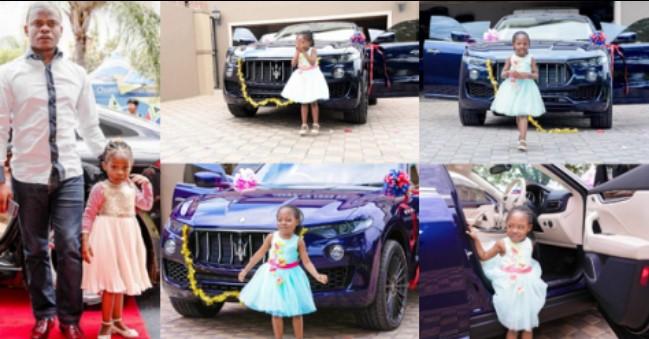 Pastor de Malawi, baseado na África do Sul e fundador da reunião cristã desperta, o profeta Shepherd Bushiri, surpreendeu a sua filha com um Maserati 2017 de $ 139,990 (N51Million) para o seu 6º aniversário.