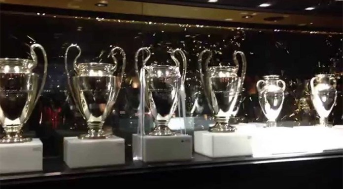 A zona do Museu do Real Madrid reservada à Liga dos Campeões ainda não recebeu a taçaconquistada no sábado, diante do Liverpool,