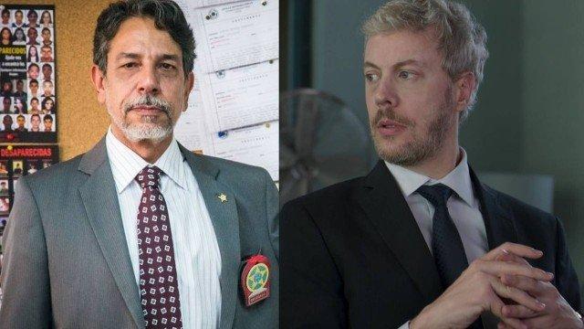 Delegado Siqueira (Marcelo Escorel) e Douglas (Guilherme Weber) em Pega Pega