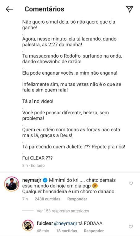 """Neymar comenta polêmica da fala de Rodolffo sobre cabelo de João: """"mimimi do krl"""""""