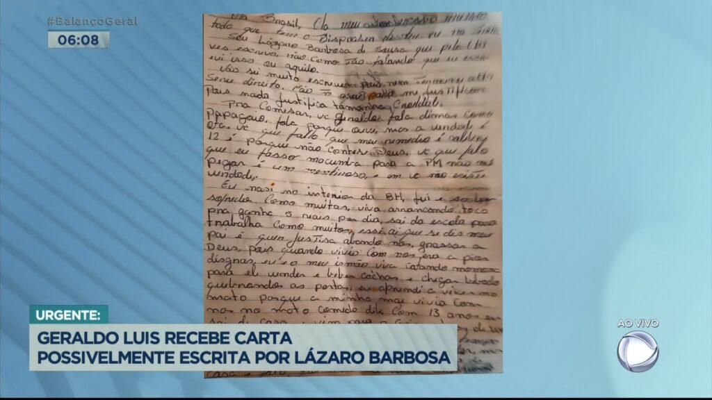 Assassino Lázaro Barbosa teria mandado carta para Record falando de Geraldo Luís; veja