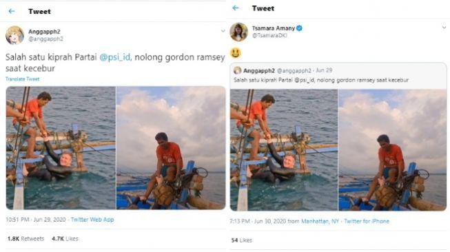 Viral Pria Pakai Kaus PSI Tolong Gordon Ramsay (Twitter)