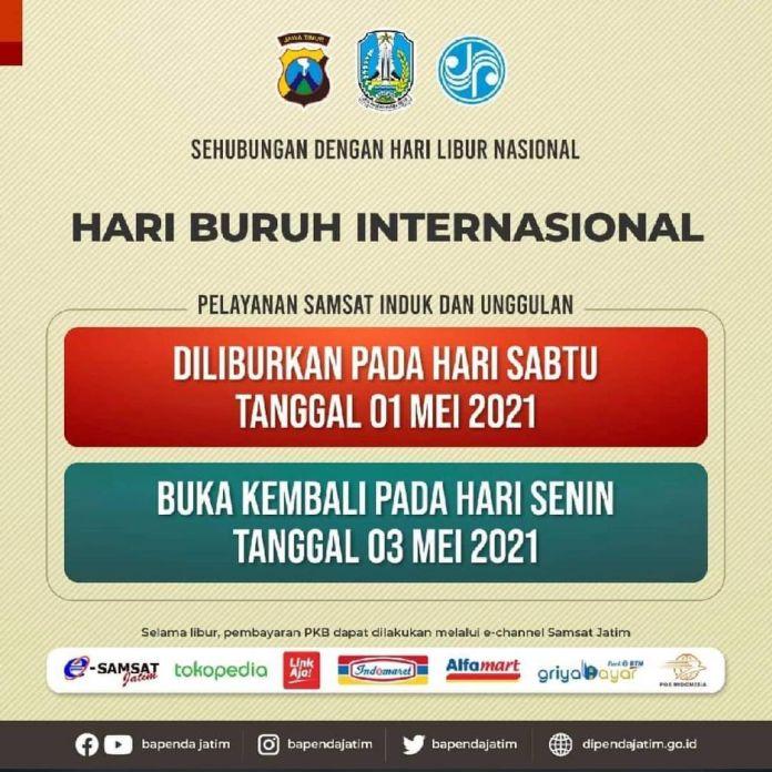 Hai Sobat Samsat Jatim mengumumkan LIBUR pelayanan dalam rangka Hari