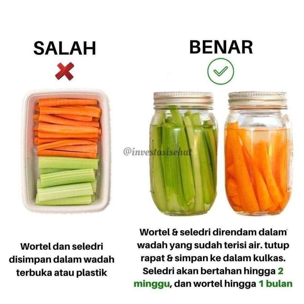 Info sehat, Tahukah kamu seledri dapat bertahan hingga 2 minggu di lemari es, serta wortel dapat bertahan hingg…