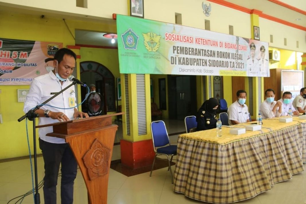 Desa Pangkemiri menerima Sosialisasi Ketentuan Di Bidang Cukai Rokok  Kominfo, Sidoarjo-Kegiata…