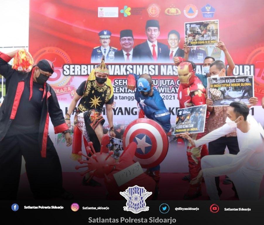 Vakasinasi Nasional TNI -Polri secara Serentak  Sidoarjo – Dalam rangka memperingati HUT Bhayan…