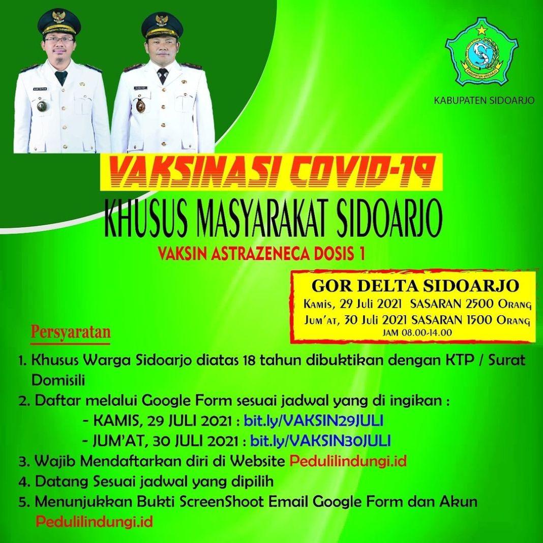 Ayo Warga Sidoarjo, Daftarkan diri anda untuk mendapatkan Vaksinasi Dosis 1 Astrazeneca . Pada …