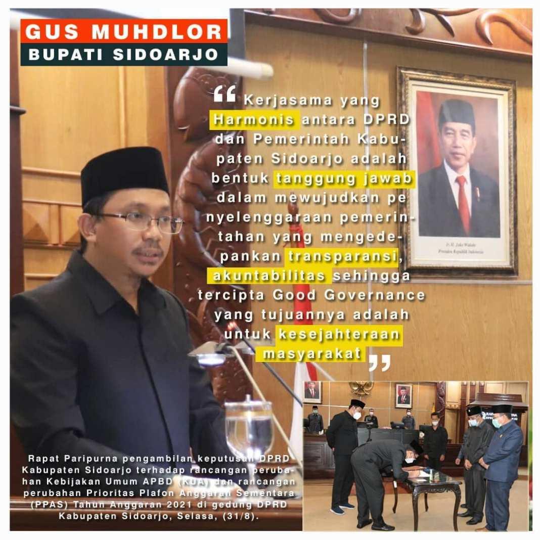 Rapat Paripurna pengambilan keputusan DPRD Kabupaten Sidoarjo terhadap rancangan perubahan Kebi…