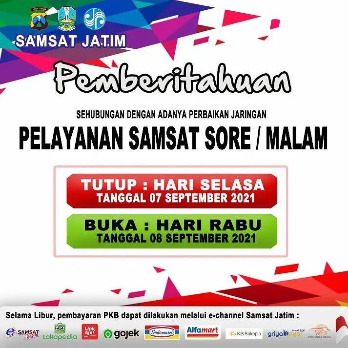 Pengumuman untuk layanan sore Samsat Corner Pepelegi Waru, Samsat DT Candi, Samsat Payment Poin…