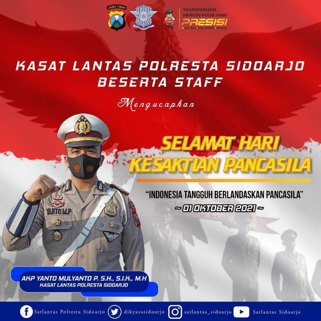 Kasat Lantas Polresta Sidoarjo beserta staff mengucapkan selamat hari kesaktian pacasila 1 Okto…