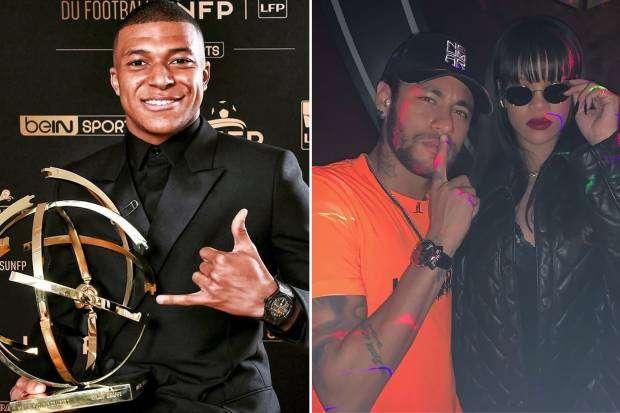 Neymar posa com Rihanna enquanto Mbappé é eleito o melhor do Francês