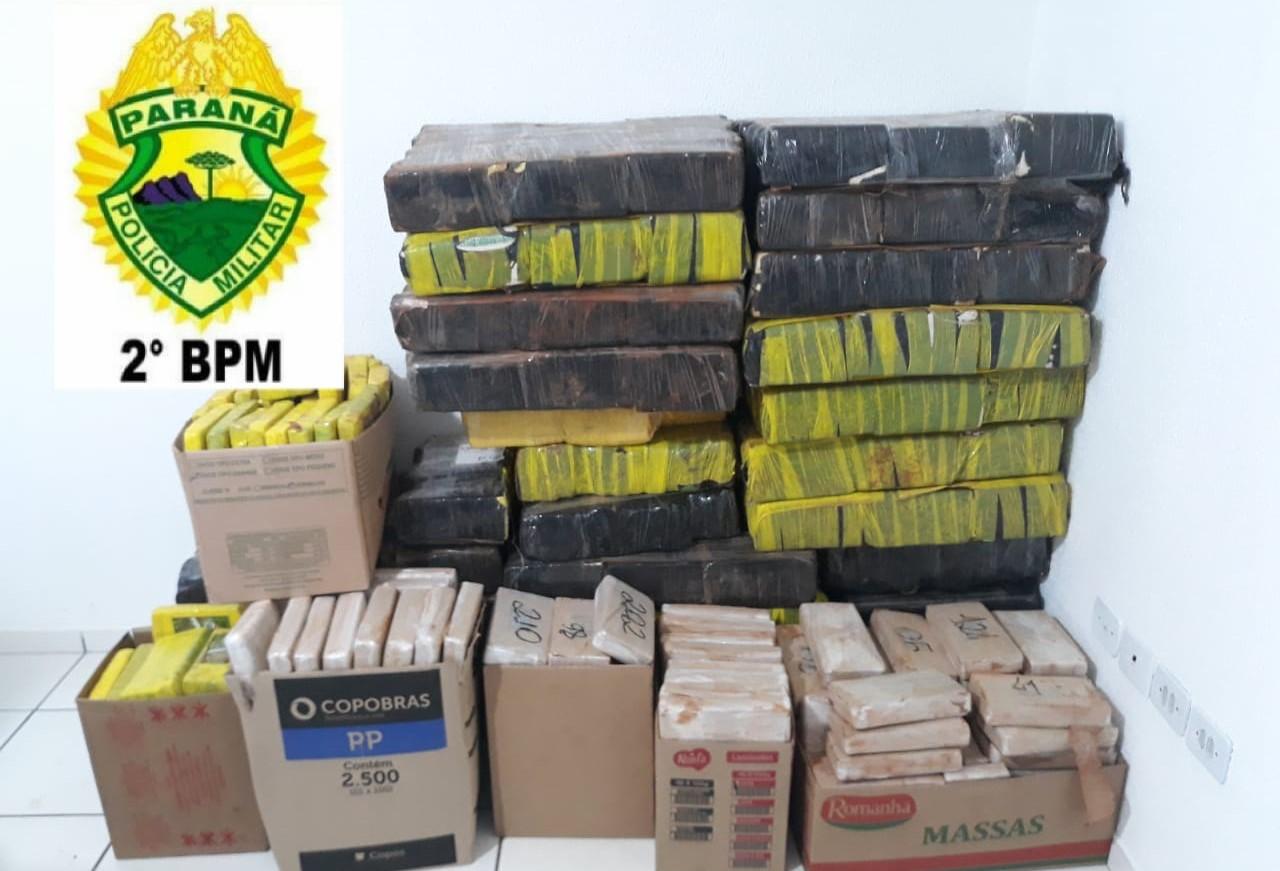 Polícia Militar apreende mais de 839 kg de maconha em Pinhalão