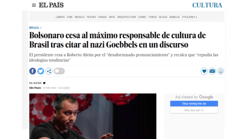 El País Roberto Alvim Nazismo